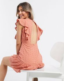 Influence frill sleeve broderie mini dress in tan