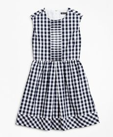 Brooks Brothers Girls Cotton Cap-Sleeve Gingham Dr