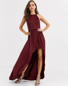 Chi Chi London high low satin skater dress in wine