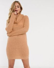 Brave Soul soda cowl neck sweater dress in camel