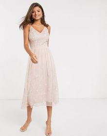 Frock & Frill embellished maxi dress in pink
