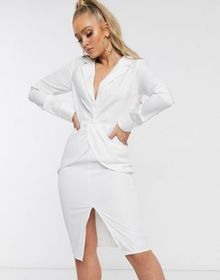 Parallel Lines plunge front midi dress with thigh