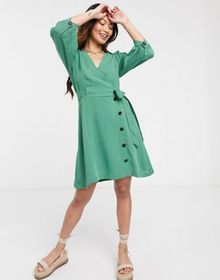Gilli mini wrap dress with button detail in green