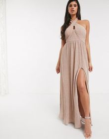 Bariano shimmer plisse halter neck maxi dress in c