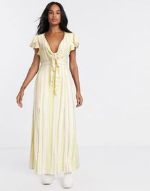 Gilli tie front maxi dress with cut out back detai