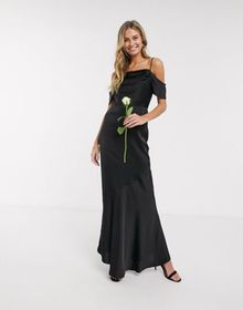 Oasis bridesmaid slinky cowl neck maxi dress in bl