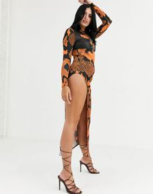 Without You 2 in 1 maxi dress with bralette in ora