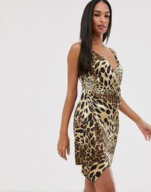 Vesper leopard wrap mini dress
