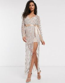 Frock and Frill Club sheer emebllished maxi dress