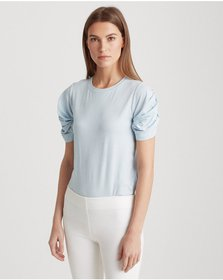 Ralph Lauren Bubble-Sleeve Cotton Tee