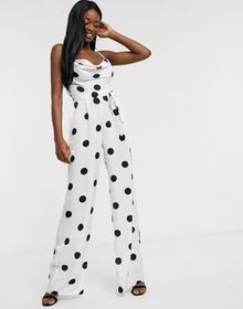 ASOS DESIGN cowl neck jumpsuit with wide leg in wh