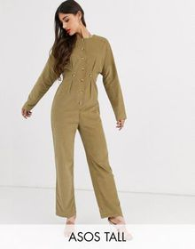 ASOS DESIGN Tall cord relaxed boilersuit in khaki