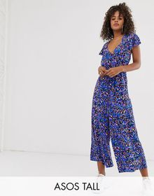 ASOS DESIGN Tall frill sleeve jumpsuit with cut ou