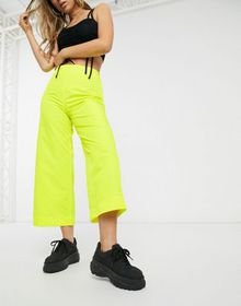 ASOS DESIGN wide leg shell pants in bright yellow