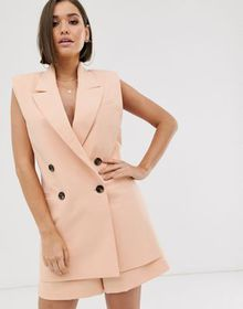 ASOS DESIGN sleeveless dad suit blazer in camel