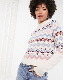 Monki fairisle print high-neck sweater in beige