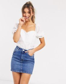 ASOS DESIGN cotton top with broderie sleeve in ivo