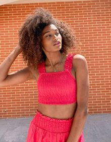 Influence shirred crop top in pink