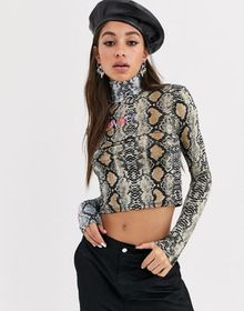 O Mighty long sleeve turtleneck top in mixed anima