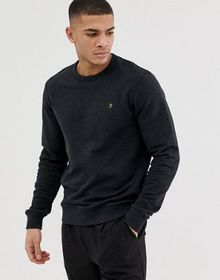 Farah Tim crew neck marl sweat in black