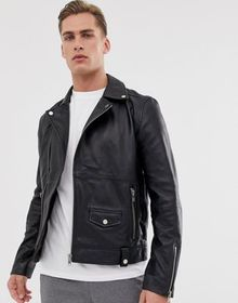 Barneys Originals real leather zipped biker