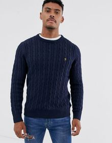 Farah Ludwig cotton cable crew neck sweater in nav