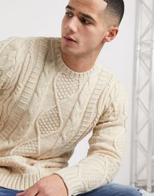 ASOS DESIGN heavyweight cable knit sweater in oatm