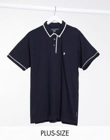 French Connection Plus piping polo in navy