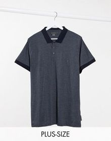 French Connection Plus contrast collar polo in nav