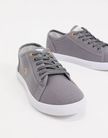 Farah canvas lace up plimsolls in gray