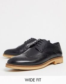 Silver Street wide fit curtis lace up brogue in bl