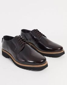 Ben Sherman leather chunky lace up shoe in bordo