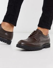 Devils Advocate lace up leather brogues in brown