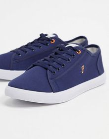 Farah canvas lace up plimsolls in navy