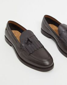 Farah tassel leather loafers in brown