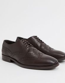 Redfoot square toe leather lace up brogues in brow