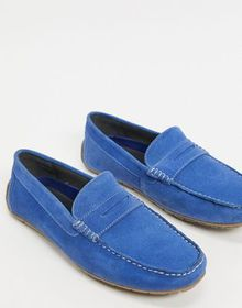 Silver Street suede penny loafer in blue