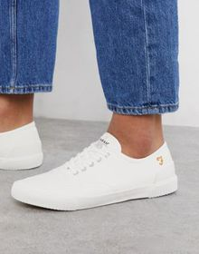 Farah lace up plimsoll sneakers in white