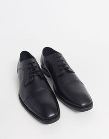 Redfoot leather toe cap shoe in black