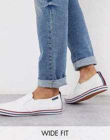 Ben Sherman wide fit slip on plimsoll in white