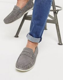 Silver Street suede penny contrast sole loafer in