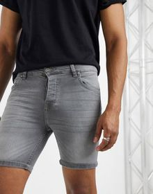 Brave Soul denim skinny fit shorts in gray