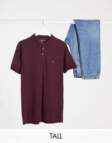 French Connection Tall polo in burgundy