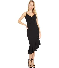 Bebe Crossover Flounce Midi Dress