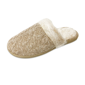 Womens Gold Toe Cable Knit Scuff Slippers