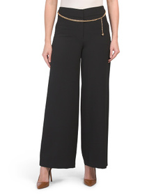 TAHARI BY ASL Wide Leg Pants With Chain Belt