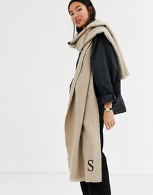 ASOS DESIGN personalized scarf with S initial