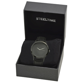 Mens Steeltime Leather Watch - 998-019-W