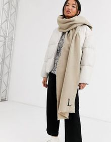 ASOS DESIGN personalized scarf with L initial
