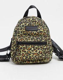 Consigned backpack with zip pocket in leopard